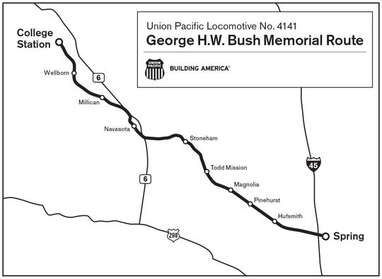 Union Pacific Locomotive No. 4141 will travel the rail route from Spring, Texas to College station is approximately 70 miles long and takes about 2 1/2 hours to travel.