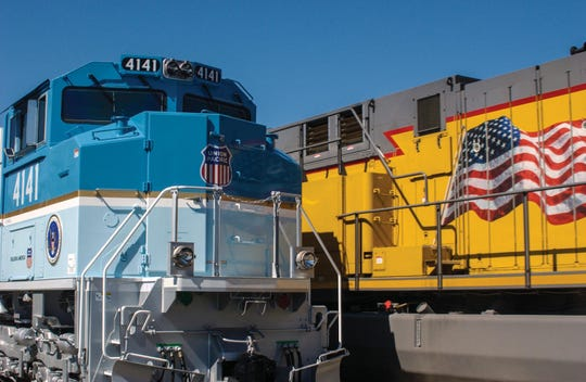 Front view of Union Pacific Locomotive No. 4141.