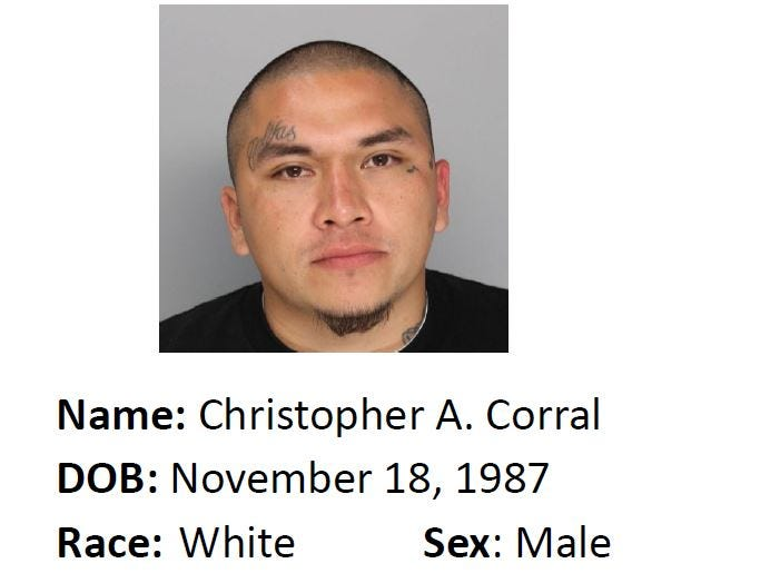 Christopher A. Corral is wanted for suspicion of aggravated assault. Anyone with information should call Crime Stoppers at 361-888-8477.