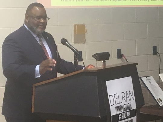 State Commissioner of Education, Dr. Lamont Repollet, speaks at the kickoff celebration for the Delran Innovation and Fabrication Laboratory, which will open in the fall of 2019. The Fab Lab will be constructed in this space, which previously held the high school's automotive shop years ago and has been used as storage space for years.
