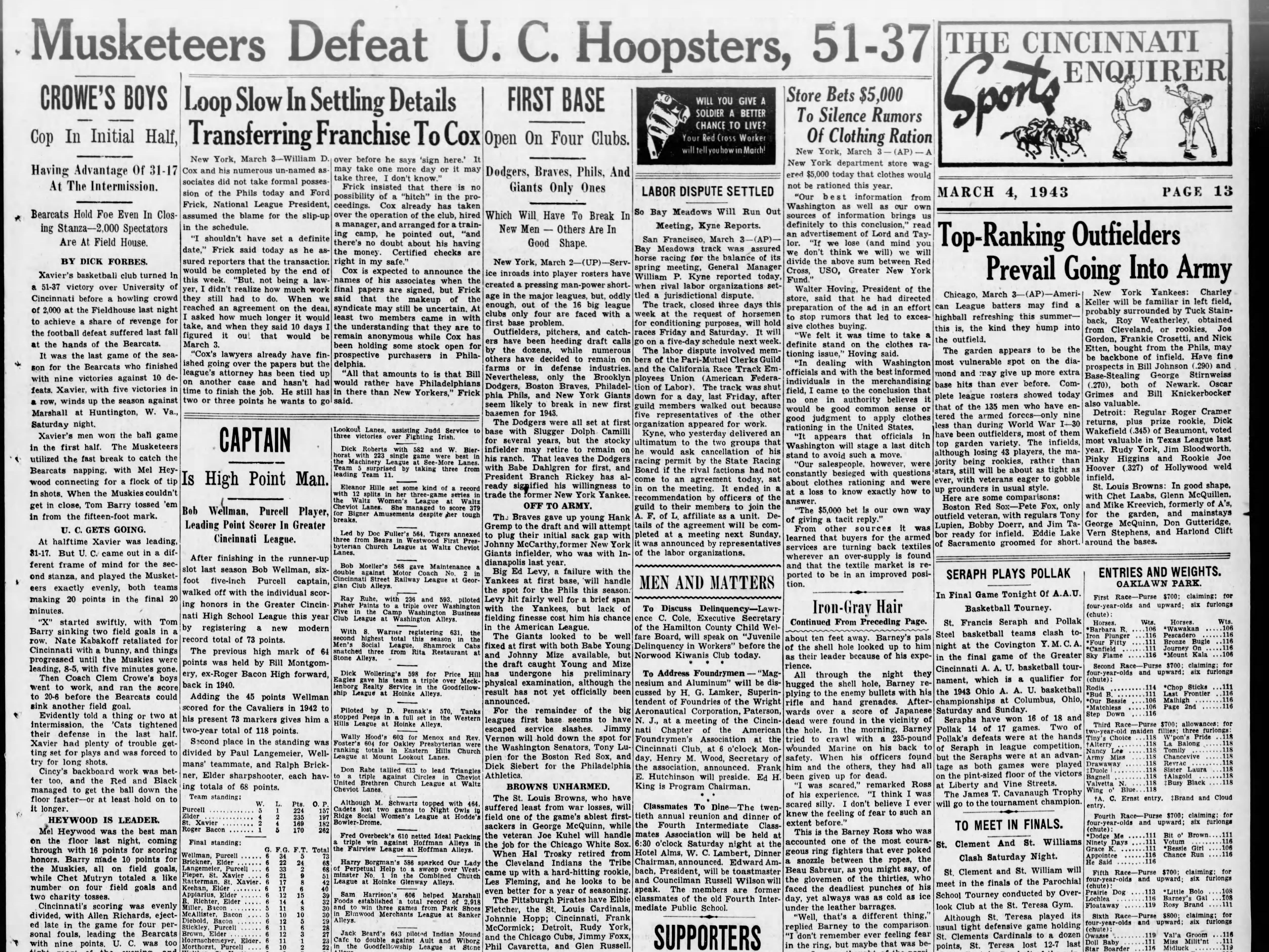 The rivals didn't meet after the 1928 game until Xavier defeated UC 51-37 in 1943.