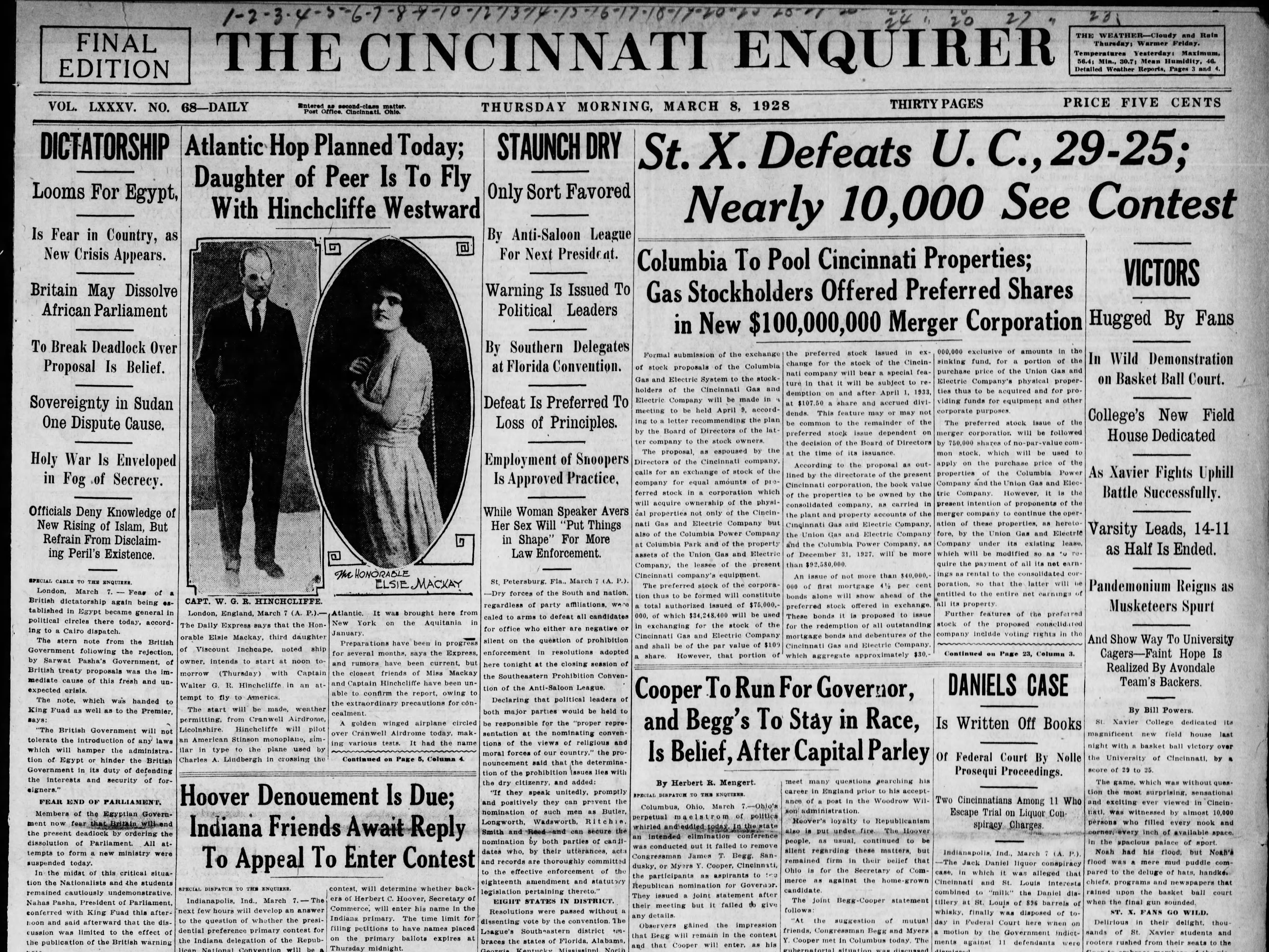 Nearly 10,000 fans turned out to see Xavier defeat UC in the first meeting between the two programs in 1928.