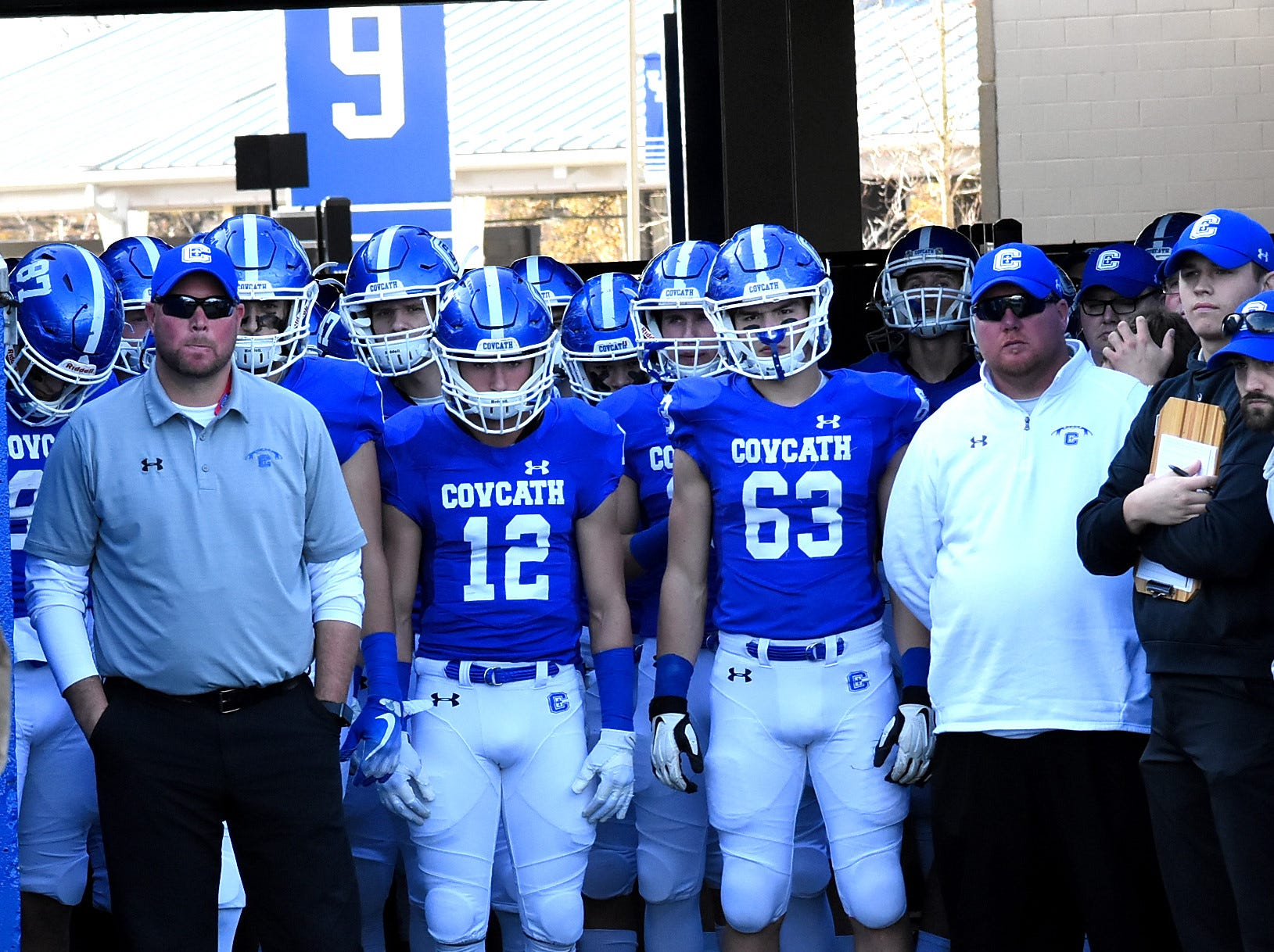 The Covington Catholic Colonels prepare to take the field  in the 2018 KHSAA 5A State Football Championship, December 2, 2018.