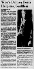 The Who lead singer Roger Daltrey remarks on the deaths on 11 people at a concert in Cincinnati on Dec. 3 1973.