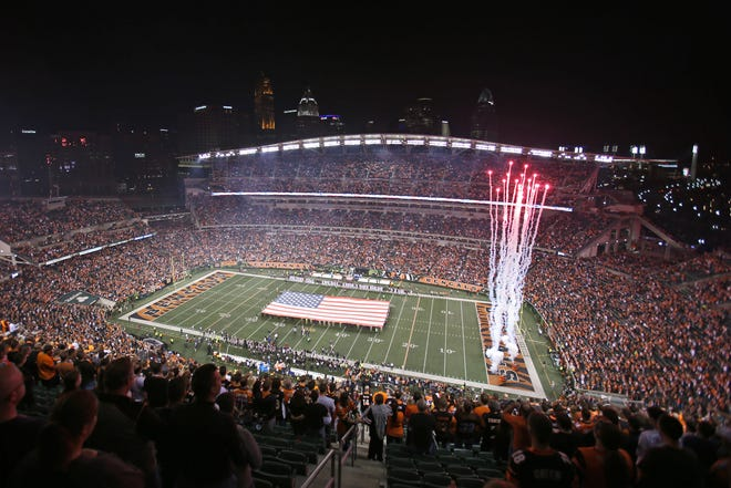 The national anthem is played prior to the Week 9 NFL football game between the Cleveland Browns and Cincinnati Bengals, Thursday, Nov. 5, 2015, at Paul Brown Stadium in Cincinnati.
