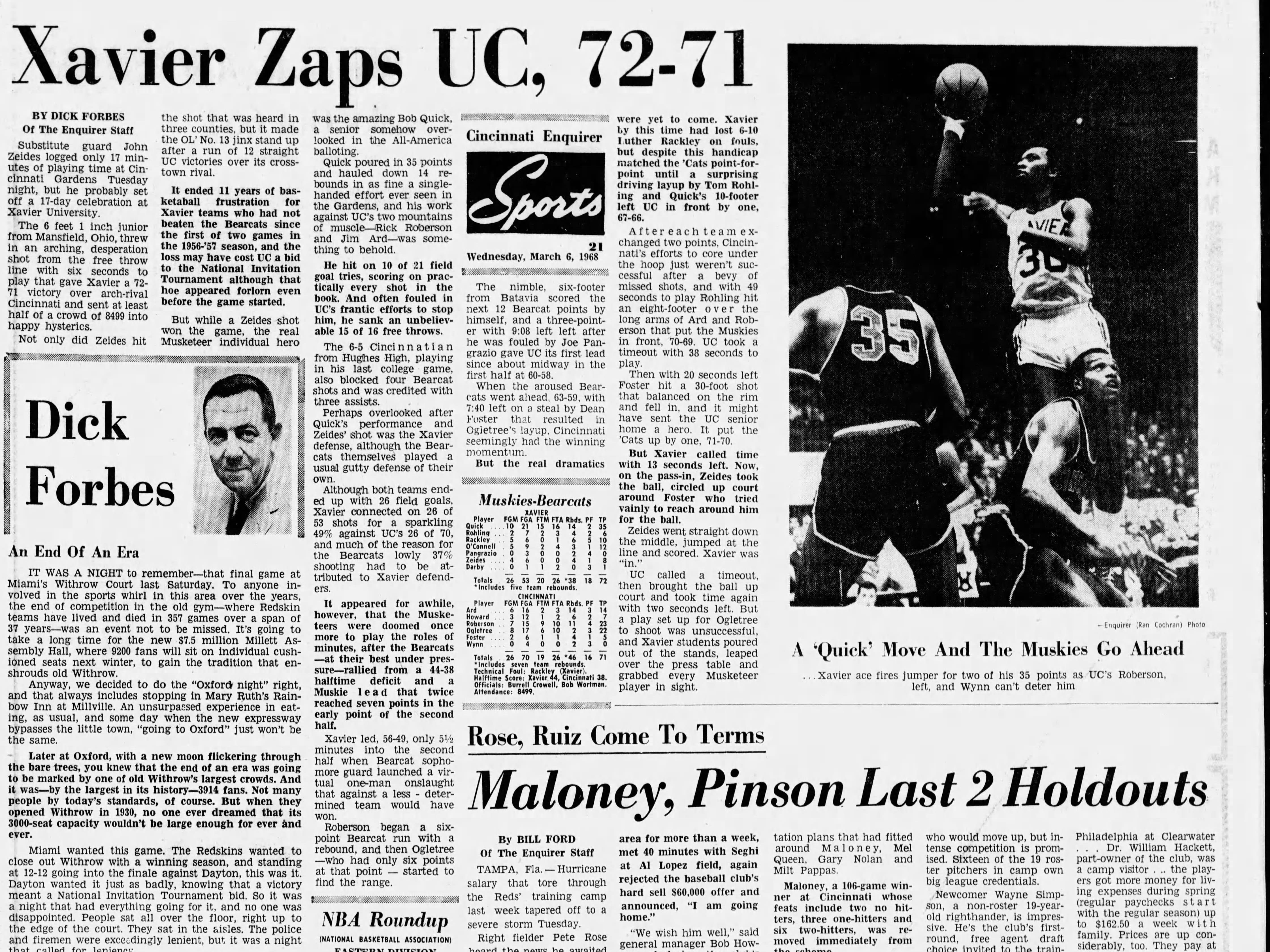 Xavier snapped a 12-game losing streak, beating UC 72-71 in 1968.