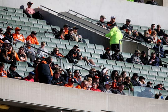 Empty seats are seen as the Cincinnati Bengals takes the field in the second quarter of a Week 13 NFL football game against the Denver Broncos, Sunday, Dec. 2, 2018, at Paul Brown Stadium in Cincinnati.