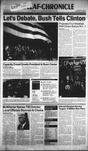 The front page of The Leaf-Chronicle on Wednesday, Sept. 30, 1992, with coverage of President George H.W. Bush's visit to Clarksville.