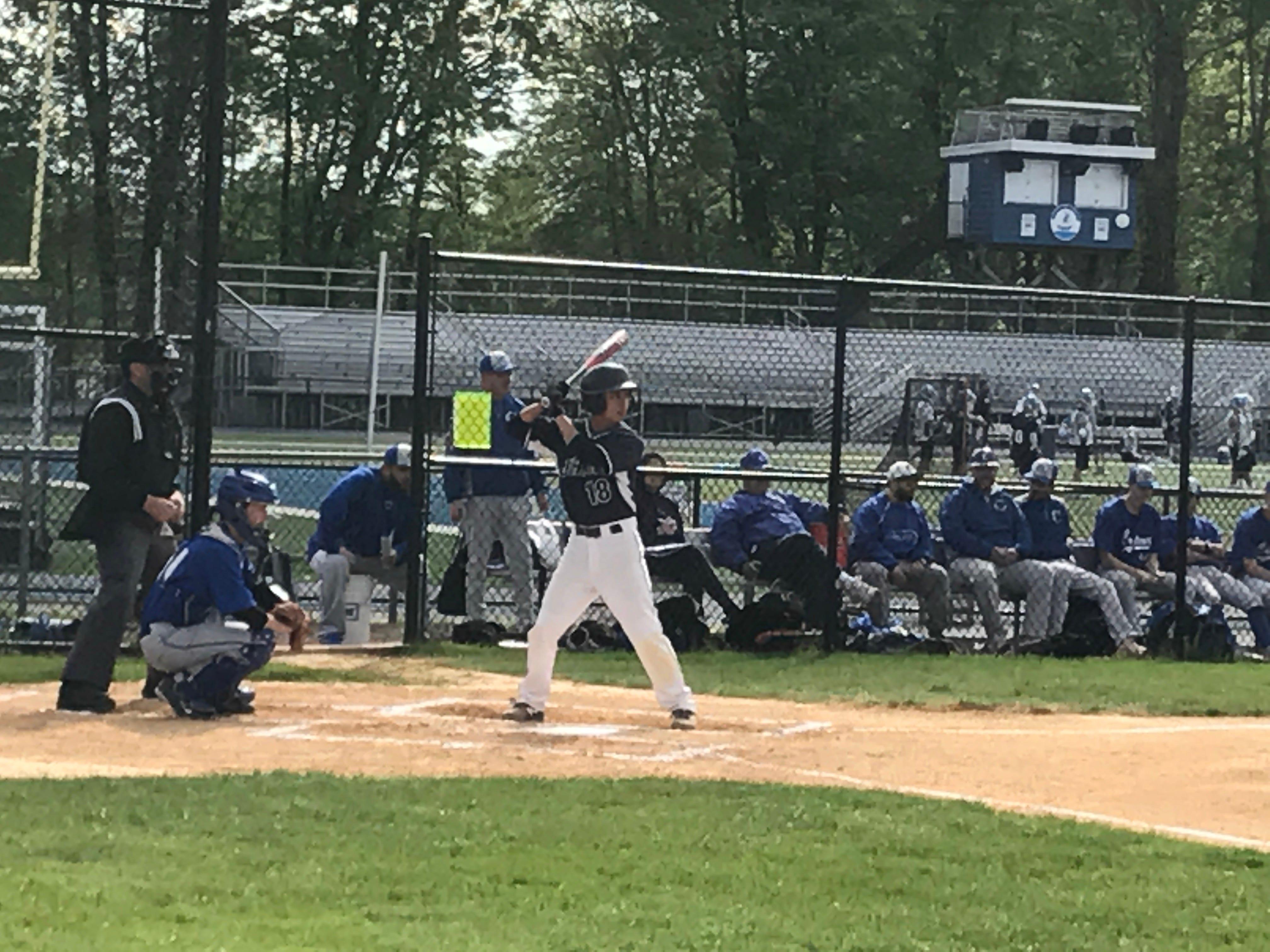Michael Sot bats during a 2017 Arthur L. Johnson Regional High School baseball game.