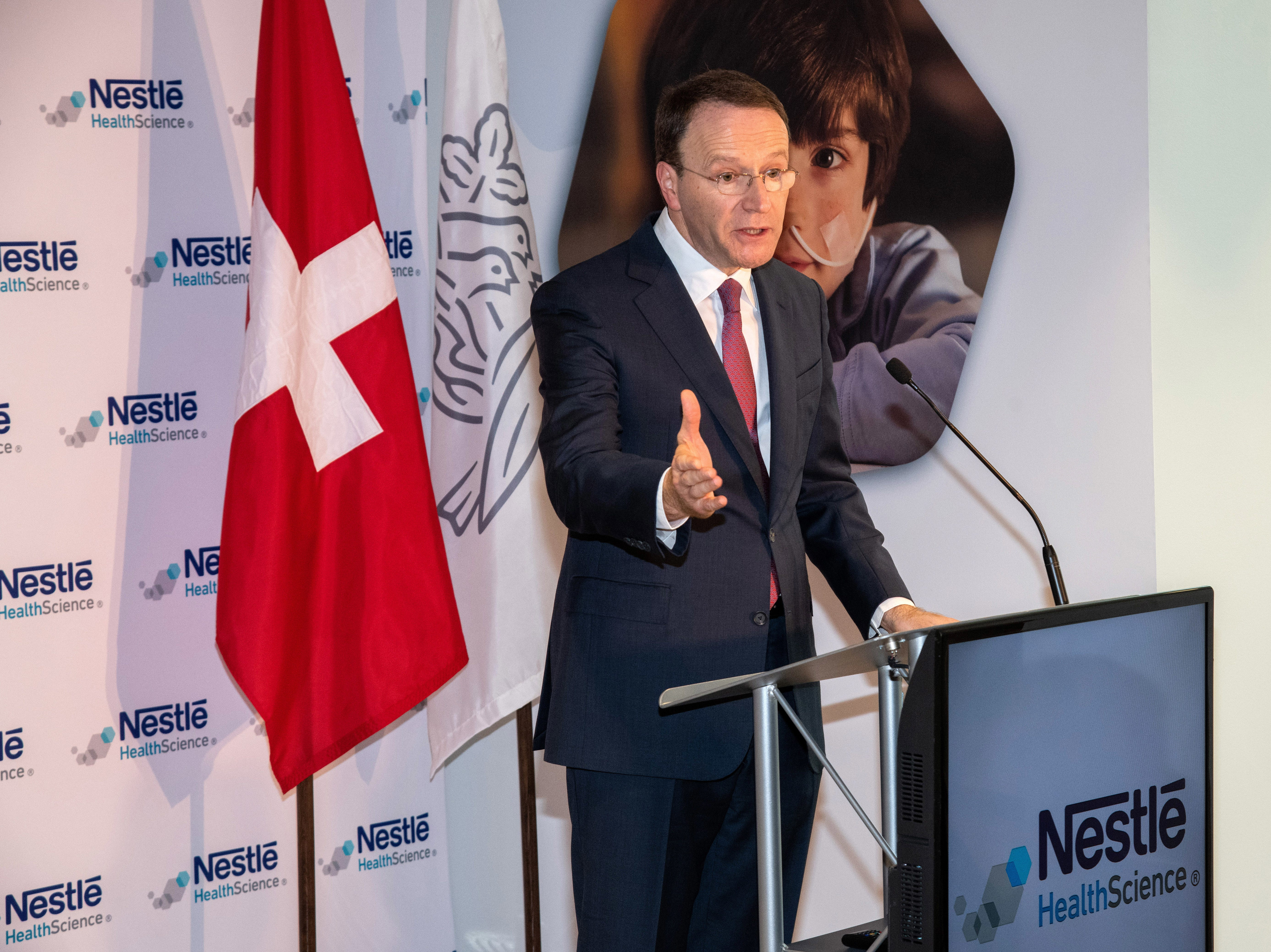 Mark Schneider, CEO Nestlé S.A., addresses guests at the inauguration of Nestlé Health Science's Product Technology Center on Monday, Dec. 3, 2018 in Bridgewater, N.J. (Charles Sykes/AP Images for Nestlé)