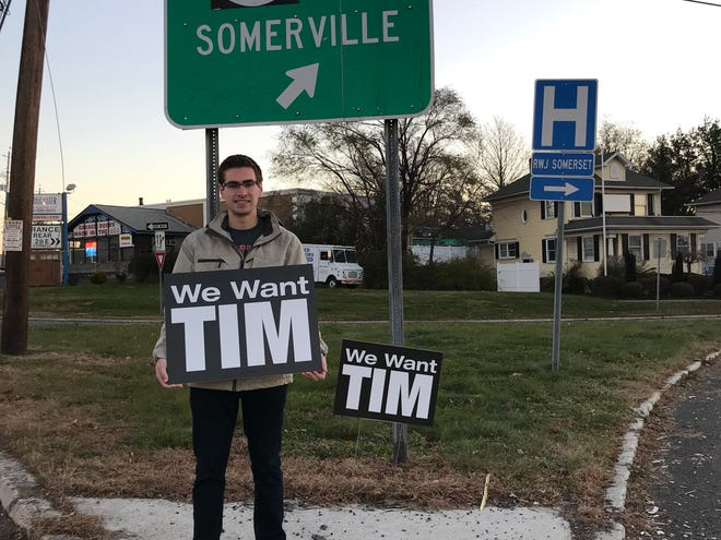 "Rutgers students were seen holding 'We Want Tim"" signs Thanksgiving morning at the Somerville Circle as well as on Easton Avenue in the Somerset section of Franklin."