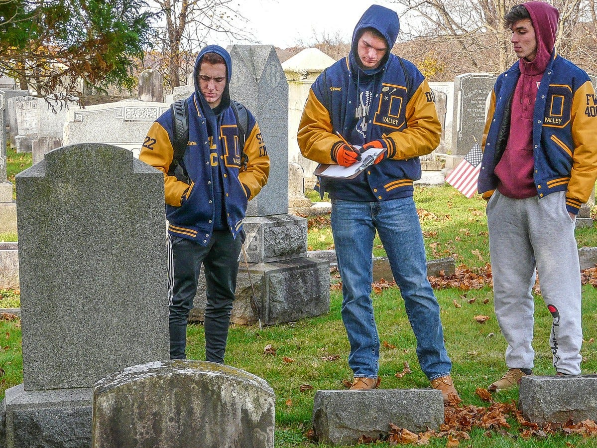 "Harvesting data in the Rosemont Cemetery are, from left, Nicolas DiBetta, Jake Norgard and Alejandro Silva. This exercise is called a ""cemetery lab."""