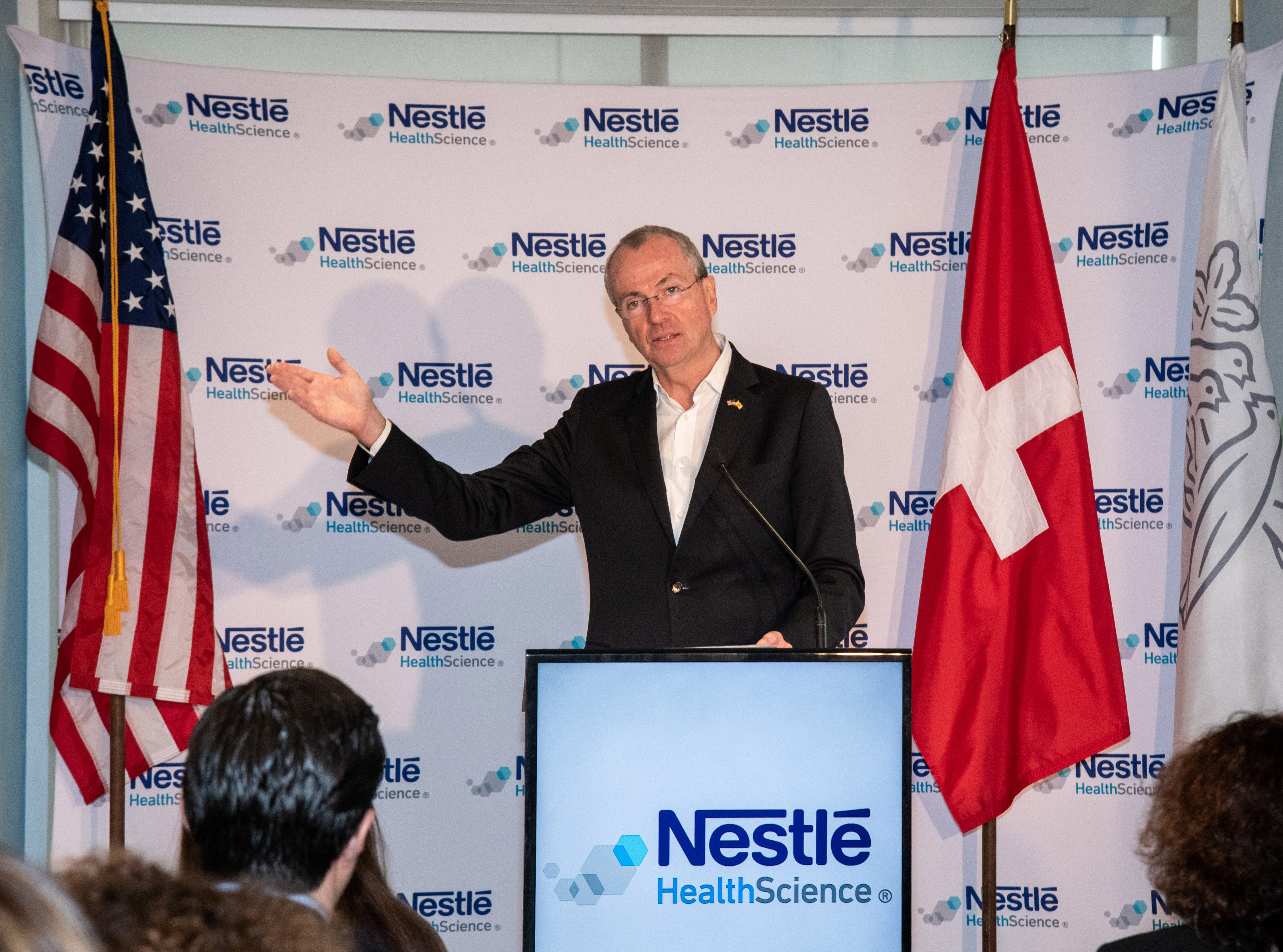New Jersey Governor Phil Murphy addresses guests at the inauguration of Nestlé Health Science's Product Technology Center on Monday, Dec. 3, 2018 in Bridgewater, N.J. (Charles Sykes/AP Images for Nestlé)