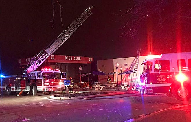 Firefighters at the scene of a blaze at the Burger King at 2565 E. Euclid Ave. in Des Moines.