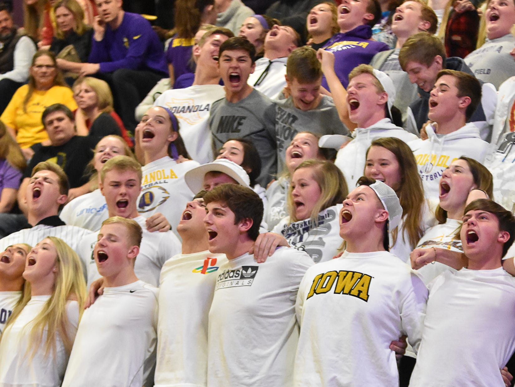 Indianola students cheer for their team. The Indianola boys slipped to 1-1 on the season with a 65-48 home loss to Norwalk on Nov. 30, 2018.
