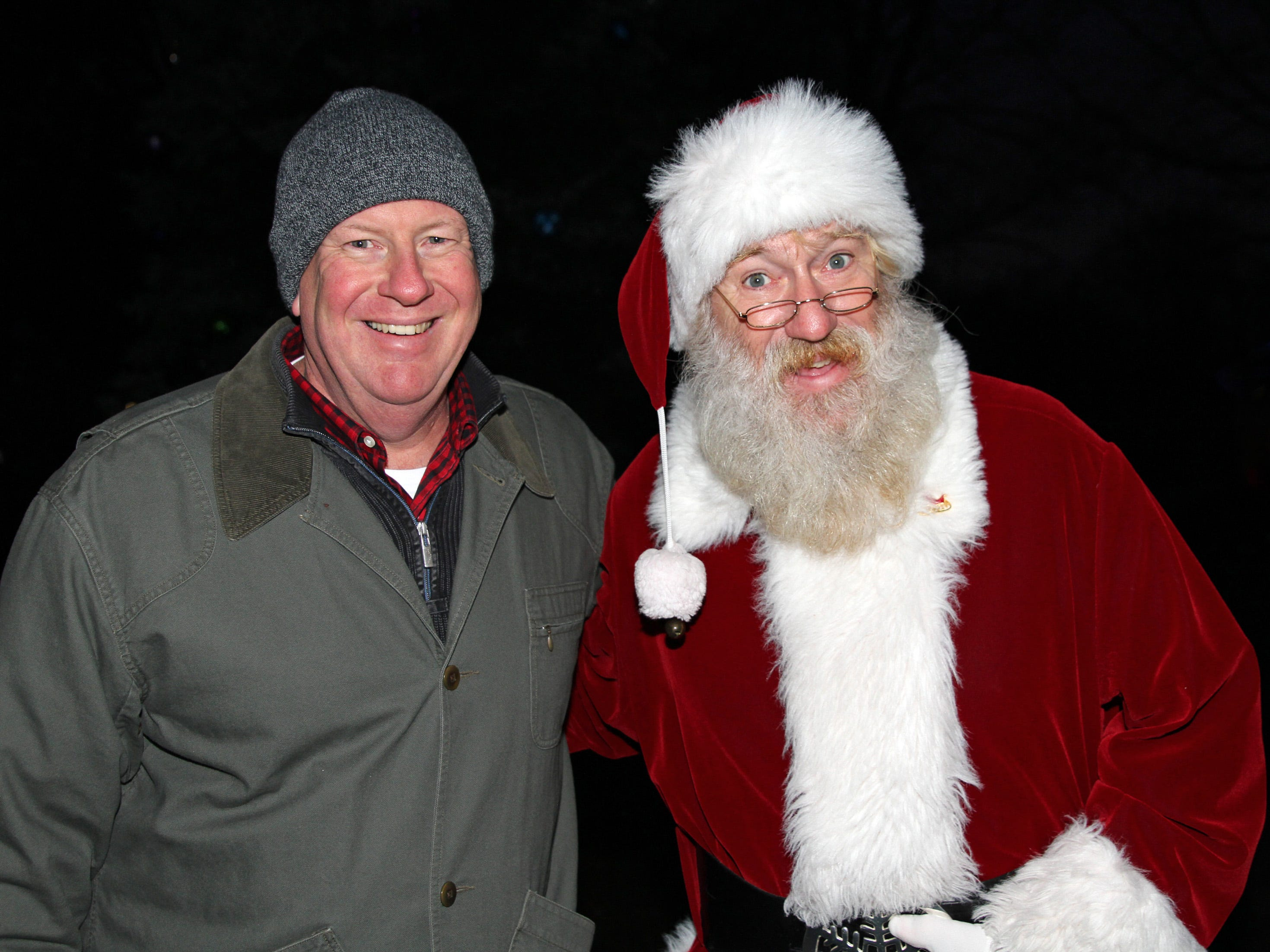 Urbandale Mayor Bob Andeweg and Santa are ready to light the official tree during UCAN's third annual Light Up Urbandale on Sunday, Dec. 2, 2018 at Lions Park in Urbandale. Holiday festivities included a visit from Santa, crafts, goodies, official tree lighting ceremony, live reindeer and entertainment.