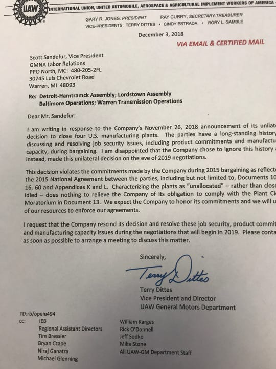 The UAW sent this letter of objection to General Motors in December 2018 regarding announced plant closings.