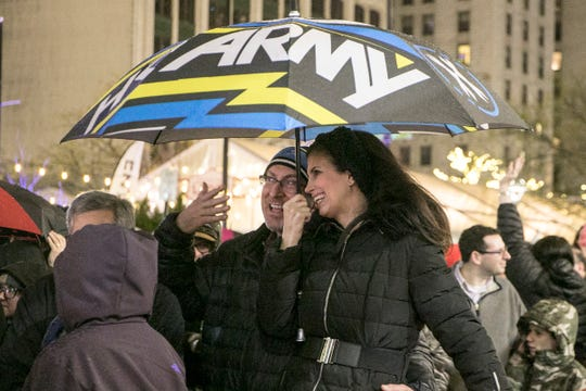 Jay and Andi Nitzkin of Farmington Hills enjoy the annual lighting of the Hanukkah menorah in downtown Detroit by Chabad, at Campus Martius on Sunday, Nov. 2, 2018 in Detroit.