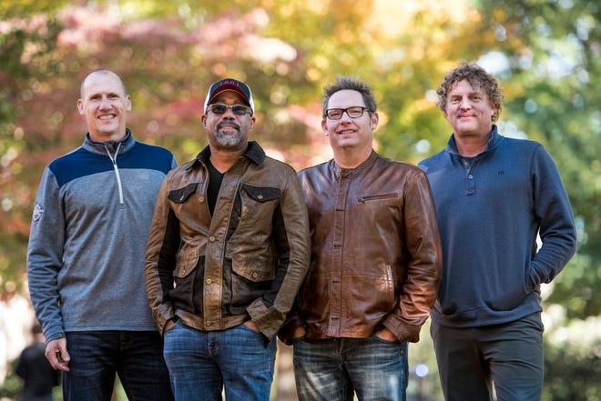 Hootie & the Blowfish on Nov. 16, 2018: Jim Sonefeld, from left, Darius Rucker, Dean Felber, and Mark Bryan, of Hootie & the Blowfish, pose for a portrait at the University of South Carolina in Columbia, S.C.