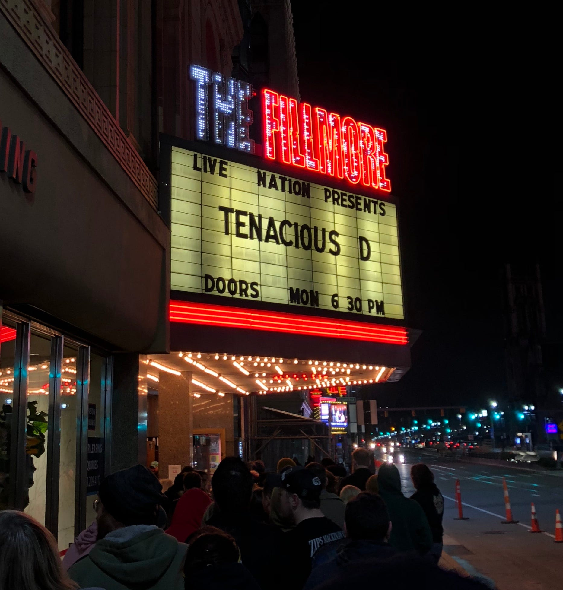 Fillmore Detroit's old marquee, seen here on Nov. 12, 2018.