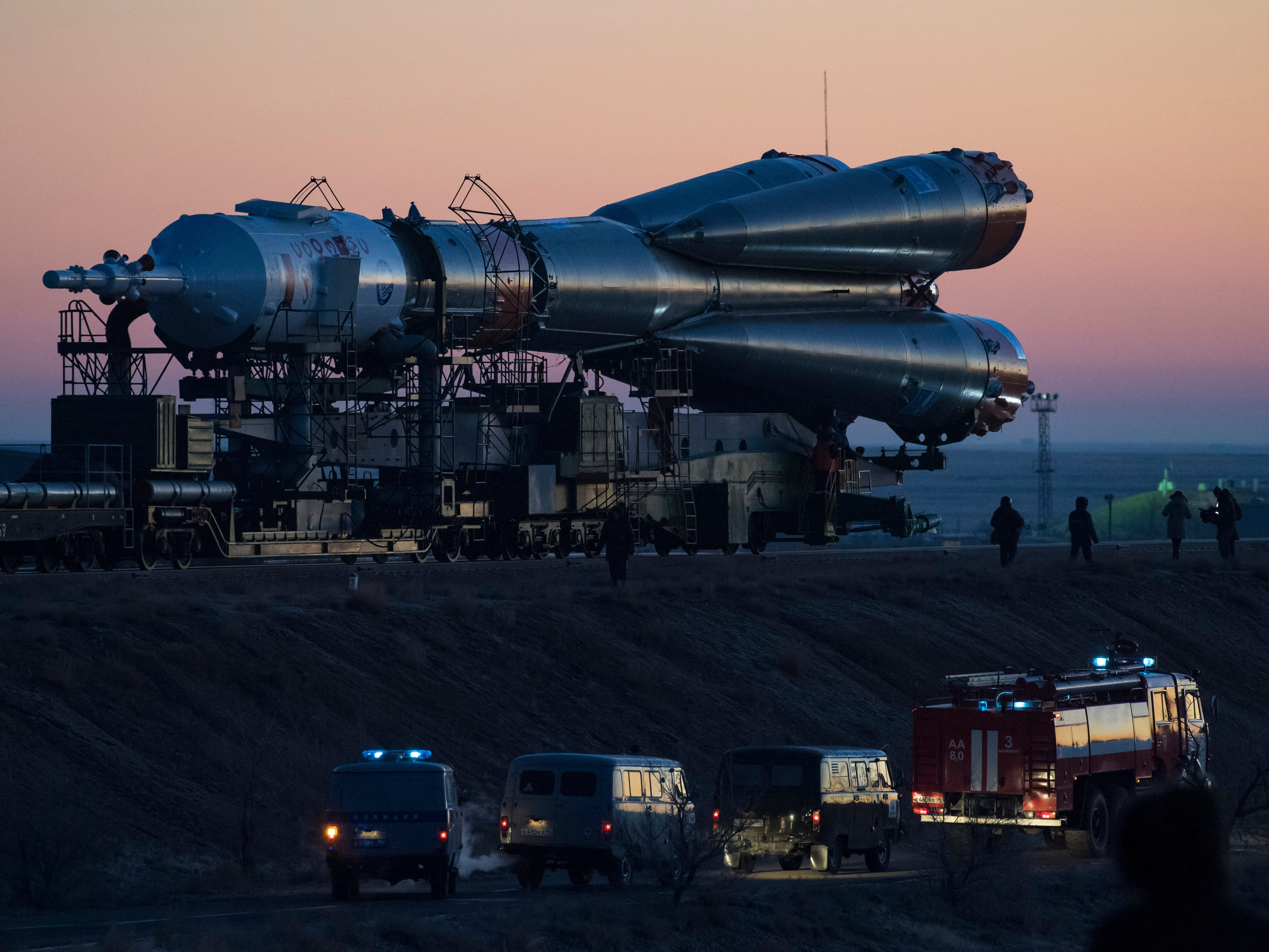 BAIKONUR, KAZAKHSTAN - DECEMBER 01: In this handout provided by NASA, T The Soyuz booster rocket and MS-11 spacecraft are rolled out to the launch pad by train at the Baikonur Cosmodrome on December 1, 2018 in Baikonur, Kazakhstan. Launch of the Soyuz rocket is scheduled for December 3 and will carry Expedition 58 Soyuz Commander Oleg Kononenko of Roscosmos, Flight Engineer Anne McClain of NASA, and Flight Engineer David Saint-Jacques of the Canadian Space Agency (CSA) into orbit to begin their six and a half month mission on the International Space Station.