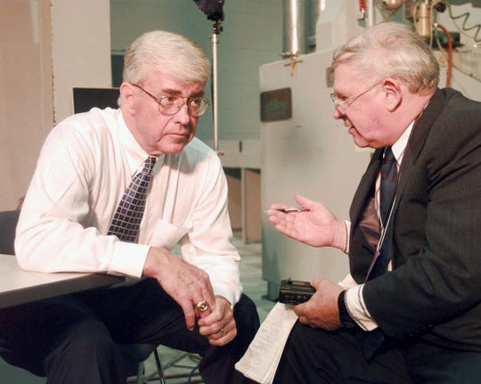 Detroit News columnist George Weeks, right, talks with vice-presidential candidate Jack Kemp during an interview in Grand Rapids on Sept 24, 1996.