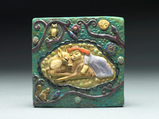 Sleeping Girl With Deer tile.