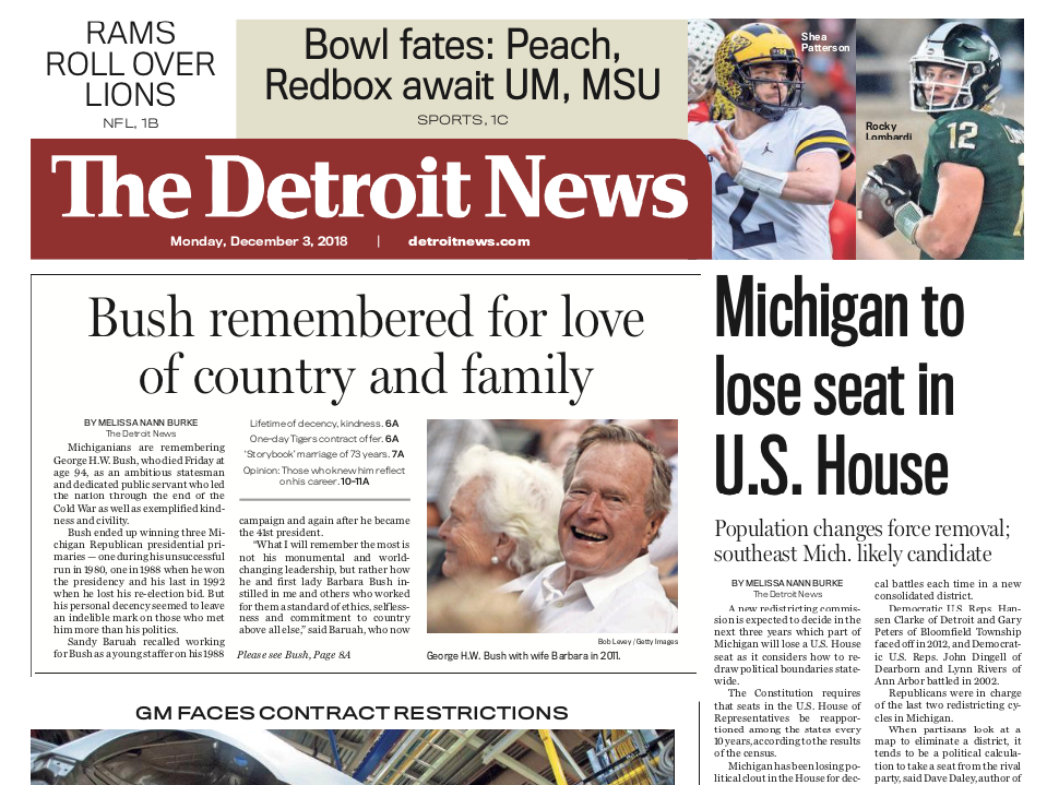 The front page of the Detroit News on Monday, December 3, 2018
