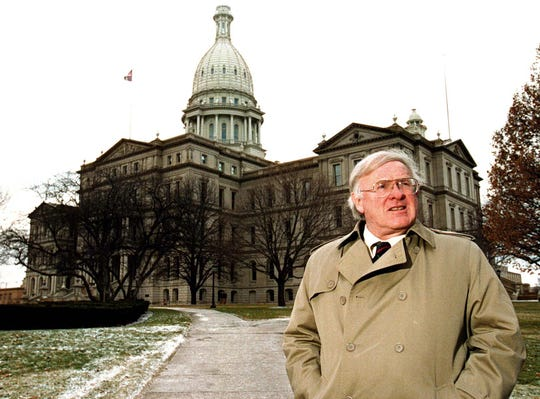 George Weeks, seen outside the state Capitol in 1996, began covering Michigan politics in 1954 for UPI.