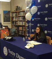 Elmira Notre Dame senior Laurel Vargas signs to play soccer at Xavier during a ceremony Nov. 20 at Notre Dame High School.