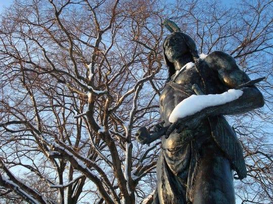 The statue of Massasoit in Plymouth, Massachussetts.
