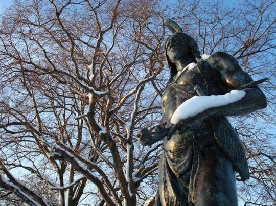 The statue of Massasoit in Plymouth, Massachussetts.