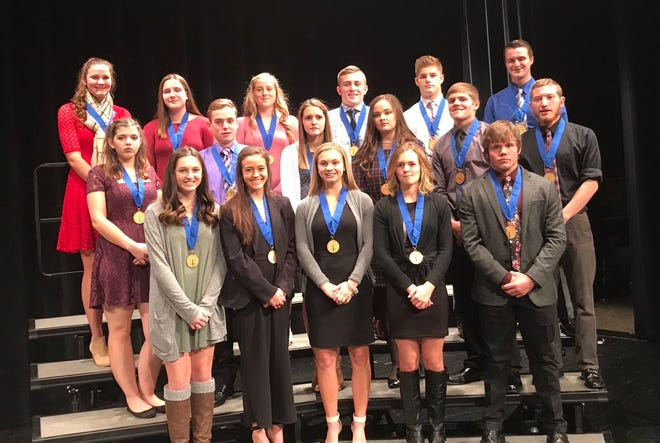 Oak Harbor HIgh School students inducted into the National Honor Society last week are, front row from left, Abigail Gregg, Bailey Blunt, Addison Hasselbach, Samantha Tallman and Chance Milledge; middle row, Emily Jess, Griffin Heintz, Hope Sievert, Hannah Lutman, Nicholas Pfeiffer and Caleb Goldstein, and back row, Logan Harris, Madison Glaser, Tiffany Ozanski, Jac Alexander, Clay Schulte and Maxwell Puckett .