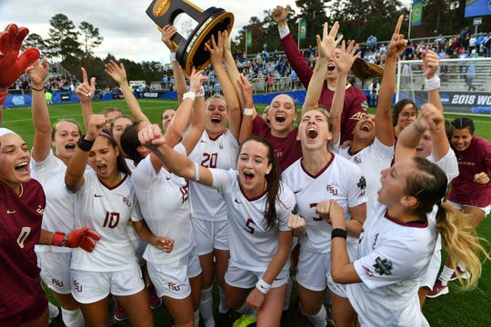 Florida State celebrates after winning its second National Championship against North Carolina, 1-0