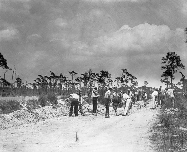 1935 photo of workers improving Pine Island Road. They were Works Progress Administration  workers.