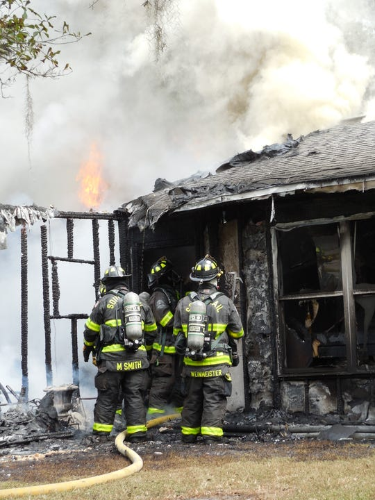 A fire Monday morning destroyed a homeon Fountain Avenue in Fort Myers.