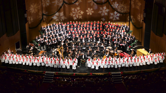 It takes a big stage for the Dudley Birder Chorale and its guests to perform the annual Holiday Pops concerts at the Weidner Center.