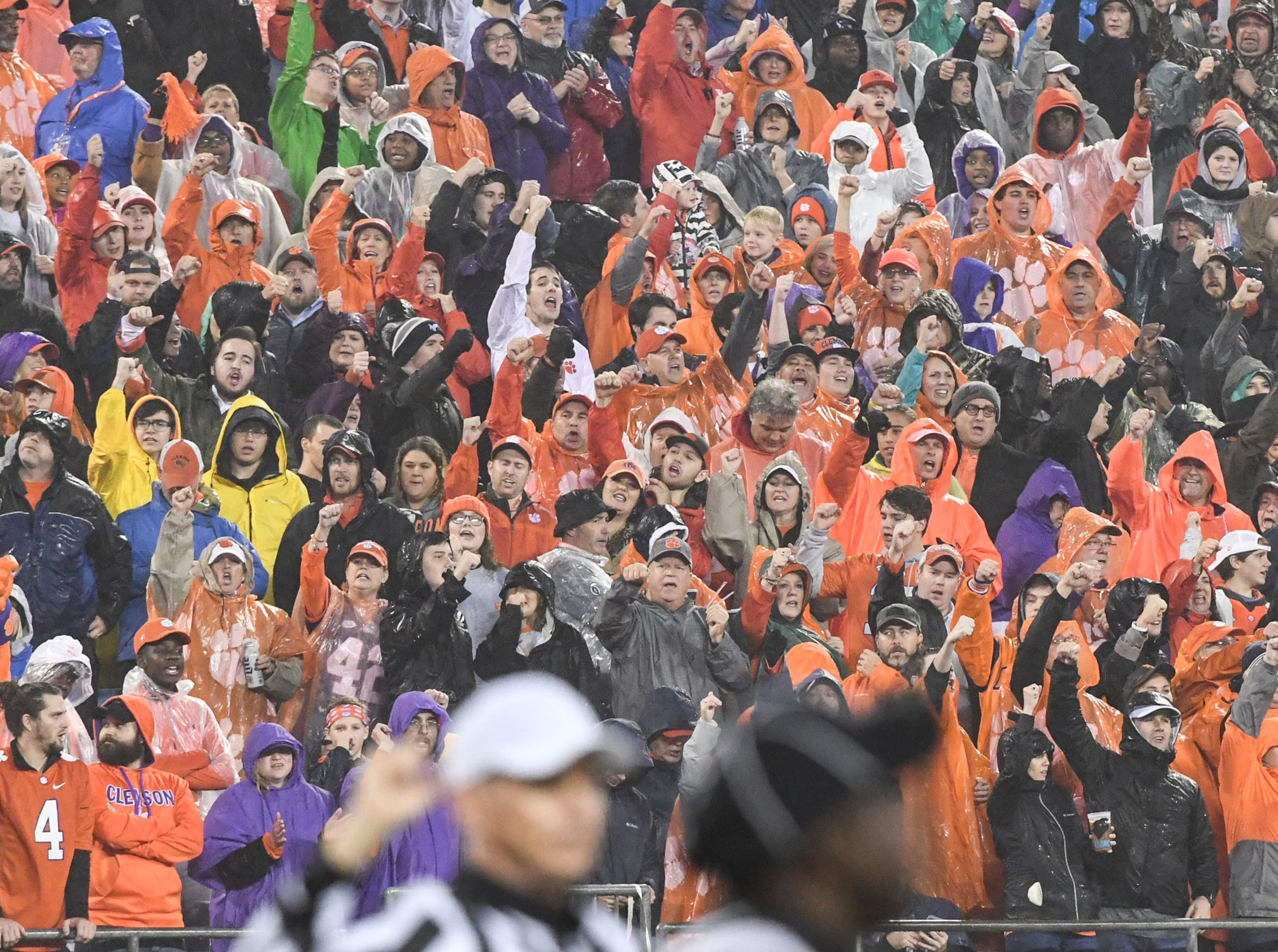 Clemson fans cheer during the fourth quarter in Memorial Stadium on Saturday, November 3, 2018.