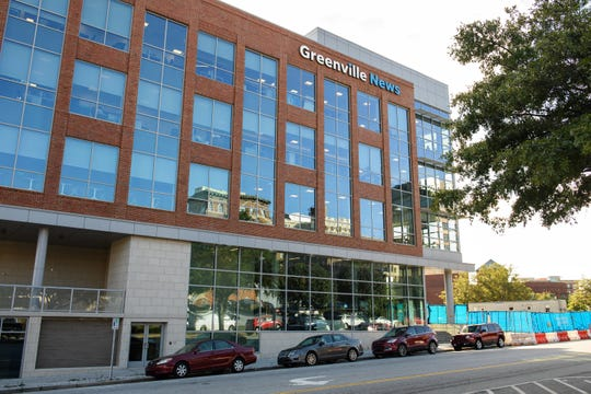 A 2018 photo of The Greenville News building at 32 E Broad Street in downtown Greenville, SC.