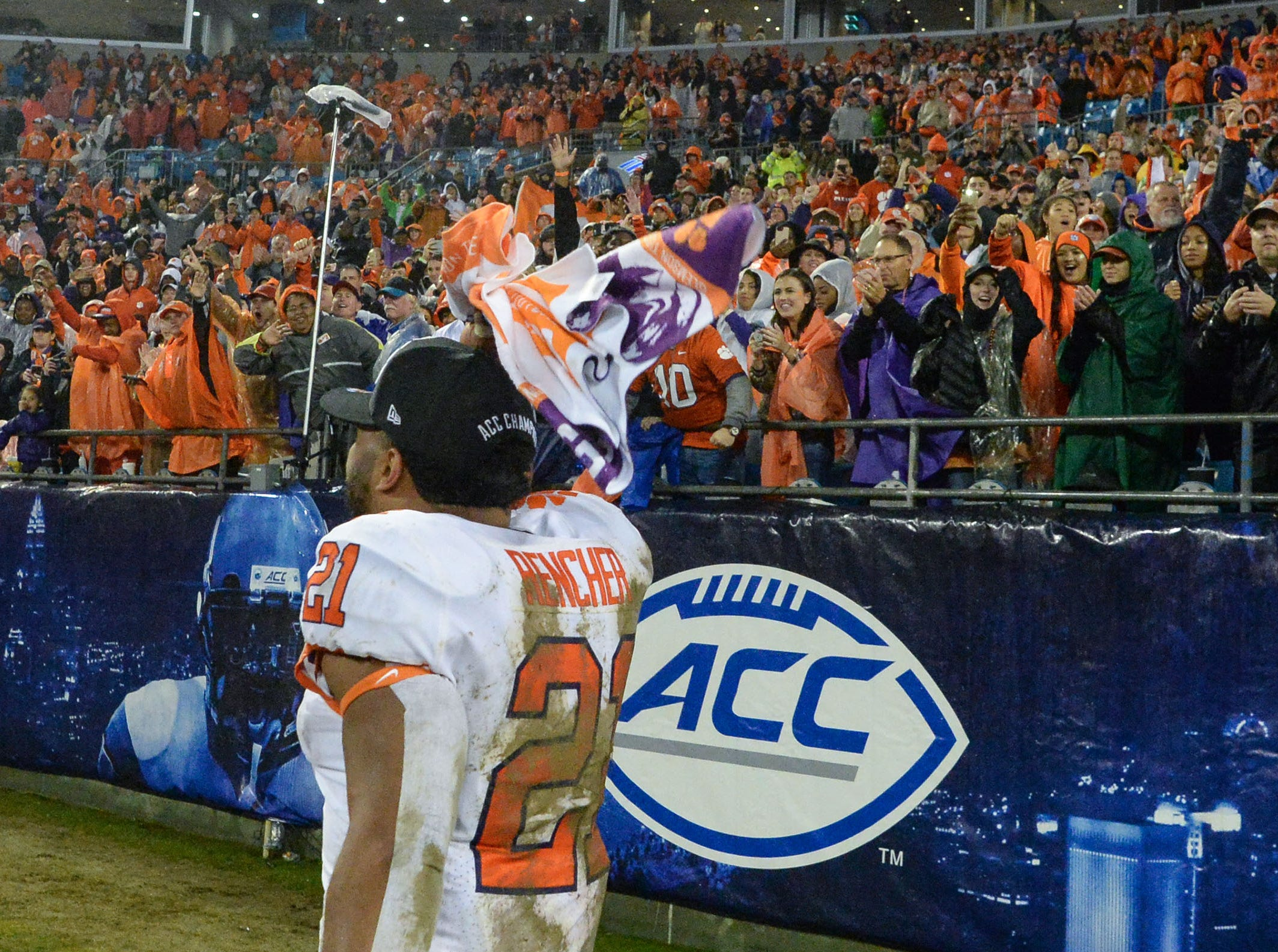 Clemson running back Darien Rencher (21) after the game at the Dr. Pepper ACC football championship at Bank of America Stadium in Charlotte, N.C. on Saturday, December 1, 2018.