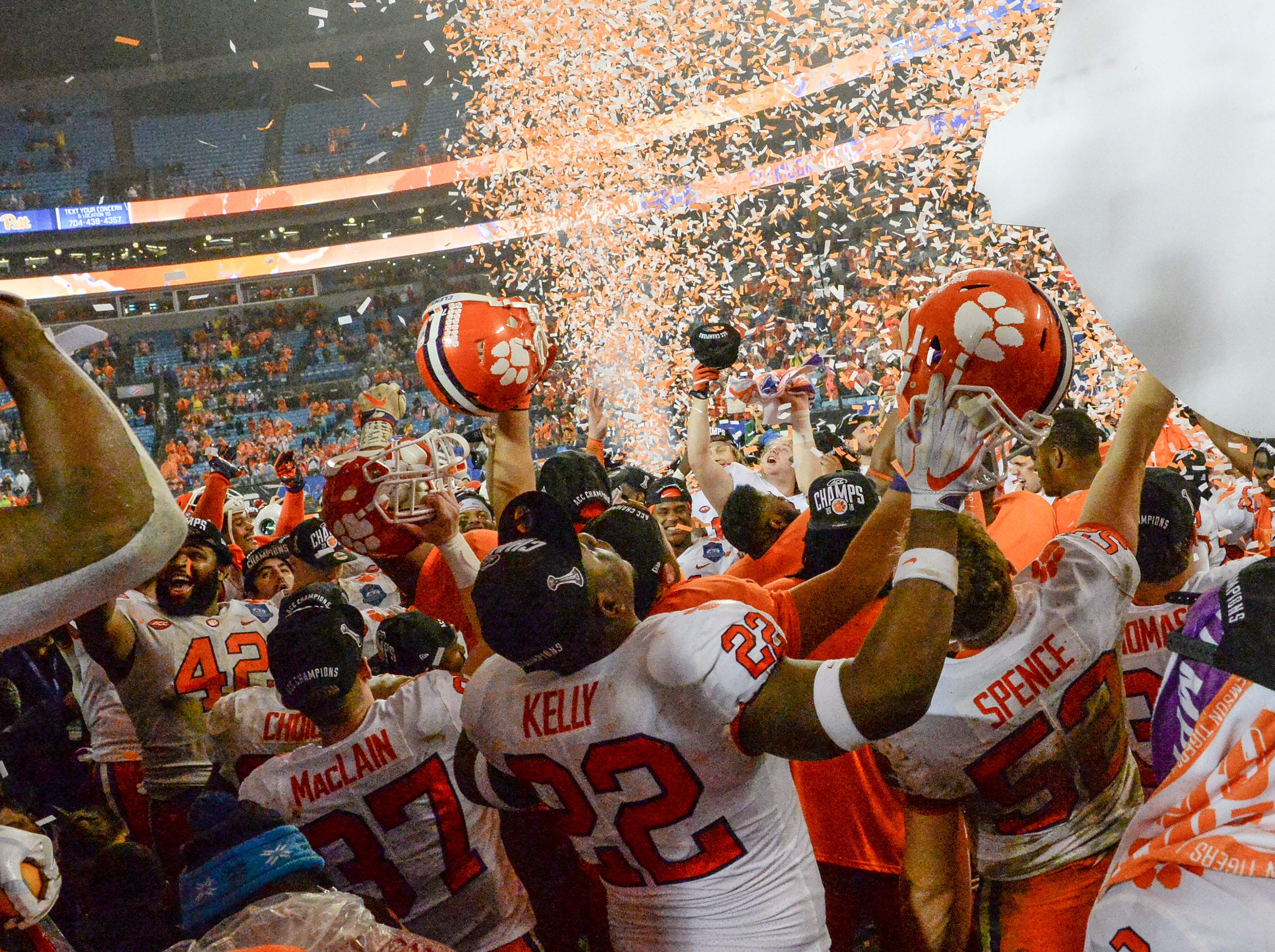 Clemson team and fans celebrate a 42-10 win over Pittsburgh after the game at the Dr. Pepper ACC football championship at Bank of America Stadium in Charlotte, N.C. on Saturday, December 1, 2018.