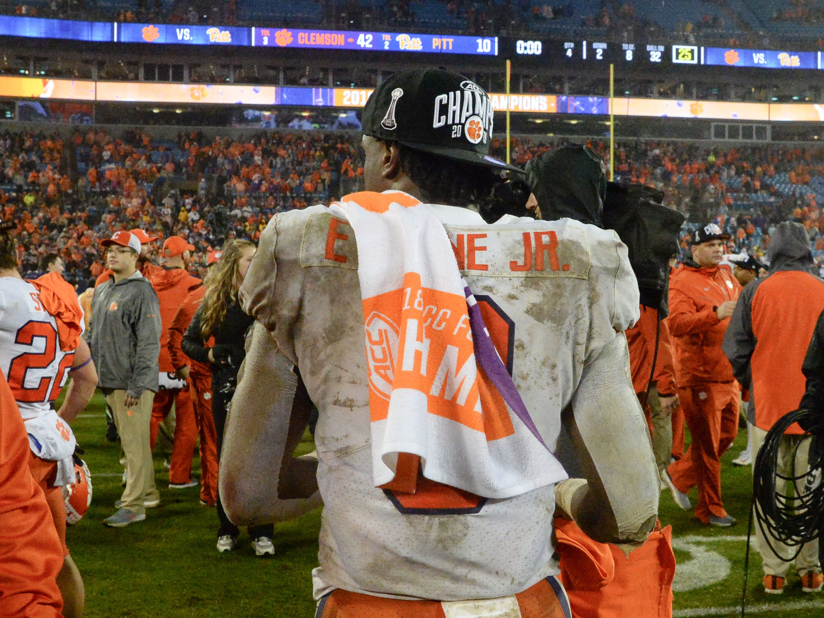 Clemson running back Travis Etienne (9) after the game at the Dr. Pepper ACC football championship at Bank of America Stadium in Charlotte, N.C. on Saturday, December 1, 2018.