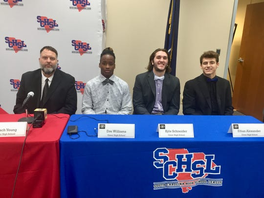Greer's contingent at Monday's state finals press conference at the South Carolina High School League in Columbia consisted of, from left, head coach Will Young and seniors Dre Williams, Kyle Schneider and Ethan Alexander.