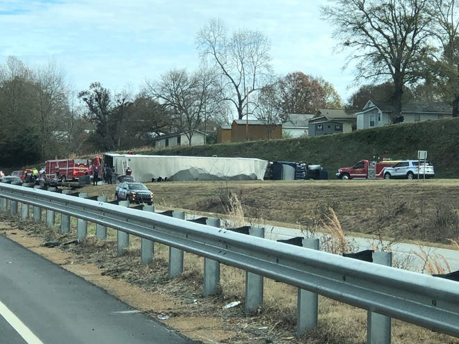An overturned 18-wheeler blocked traffic toward Greenville on US 123 Monday morning. No injuries were reported in the wreck, according to Easley Police.