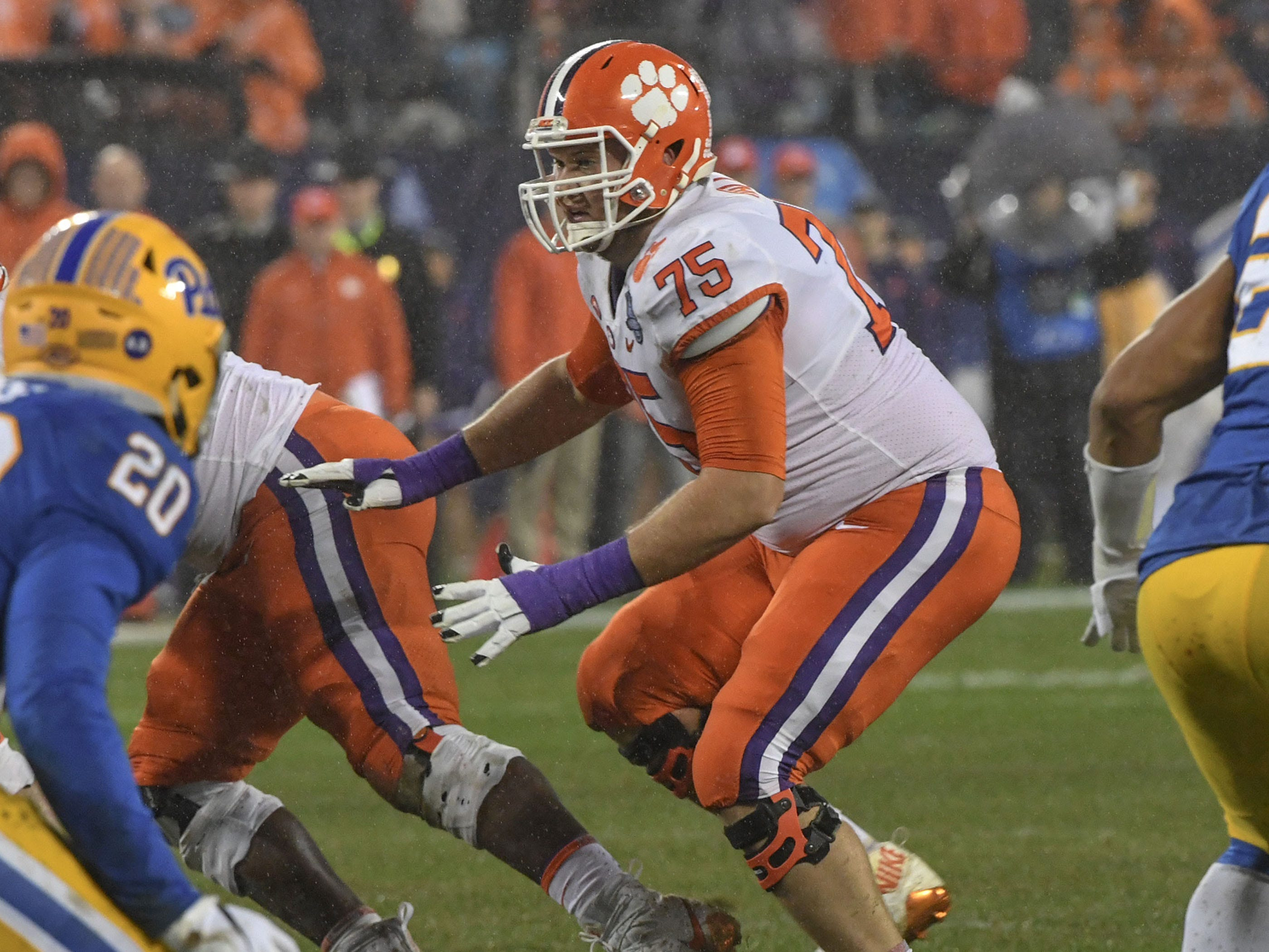 Clemson offensive lineman Mitch Hyatt (75) blocks against Pittsburgh during the third quarter of the Dr. Pepper ACC football championship at Bank of America Stadium in Charlotte, N.C. on Saturday, December 1, 2018.