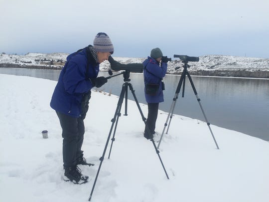 Birders use spotting scopes at Giant Springs State Park.