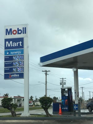 Gas now costs $4.23 per gallon, according to the sign at the Mobil station in Anigua.