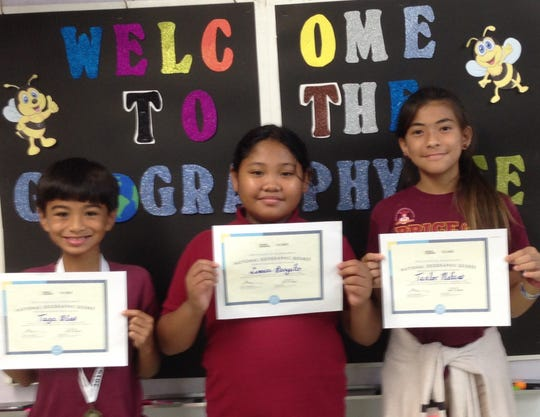 Pictured from left: first place Taga Blas 5th grade; second place Samara Bongato fourth grade; and third place Taelor Mafnas 5th grade.
