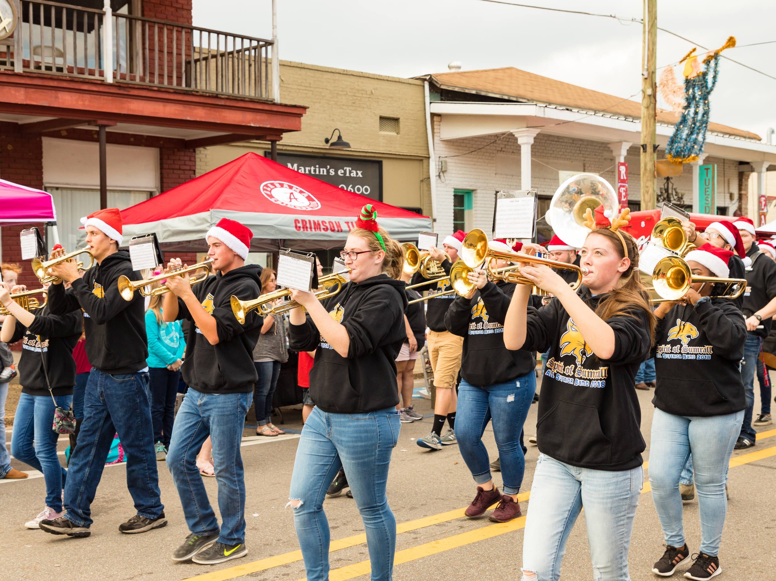 The Spirit of Sumrall performs in the Christmas Parade through downtown Sumrall on Saturday, December 1, 2018.
