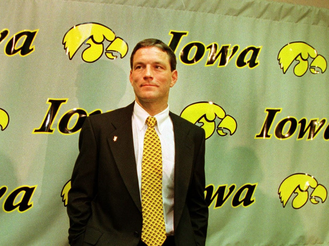 From 1998: Kirk Ferentz surveys the crowd after being introduced as Iowa's new football coach during a news conference Thursday evening, Dec. 3, 1998, in Iowa City. Ferentz, then an assistant coach for the Baltimore Ravens, replaced Hayden Fry who retired after coaching Iowa for the past 20 years.